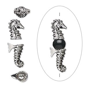 bead cap, antique silver-plated bronze, 28x9mm with 10x9mm seahorse head and 11x9mm seahorse tail, fits 6-10mm bead. sold per 2-piece set.