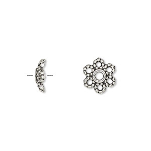 bead cap, antique silver-plated pewter (zinc-based alloy), 10x3mm flower, fits 8-14mm bead. sold per pkg of 50.