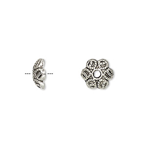 bead cap, antique silver-plated pewter (zinc-based alloy), 10x3mm scalloped round, fits 8-14mm bead. sold per pkg of 100.