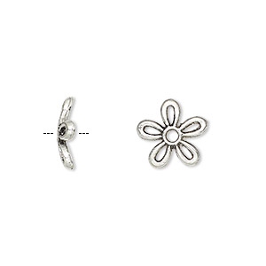bead cap, antique silver-plated pewter (zinc-based alloy), 11x2mm flower, fits 8-16mm bead. sold per pkg of 500.