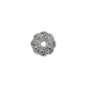 bead cap, antique silver-plated pewter (zinc-based alloy), 12x2mm filigree round, fits 10-18mm bead. sold per pkg of 500.