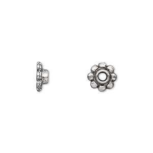 bead cap, antique silver-plated pewter (zinc-based alloy), 8x3mm scalloped round, fits 6-12mm bead. sold per pkg of 100.