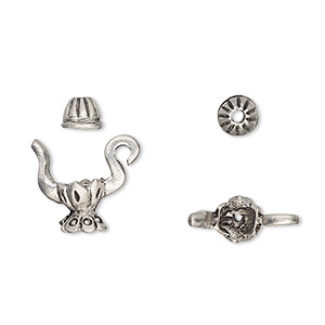 bead cap, antiqued pewter (tin-based alloy), 15x11mm fancy teapot, fits 4-5mm bead. sold per 2-piece set.