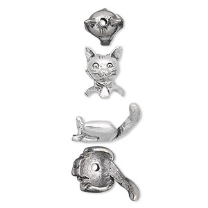bead cap, antiqued pewter (tin-based alloy), 19x10mm cat, fits 7-8mm bead. sold per 2-piece set.