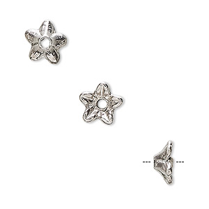 bead cap, antiqued pewter (tin-based alloy), 9x4.5mm flower, fits 6-8mm bead. sold per pkg of 6.