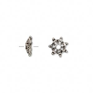 bead cap, antiqued pewter (zinc-based alloy), 10x3mm snowflake, fits 8-12mm bead. sold per pkg of 24.