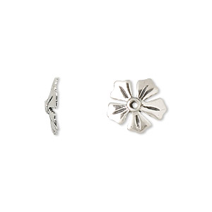 bead cap, antiqued sterling silver, 11.5x2mm flower, fits 12-14mm bead. sold per pkg of 2.