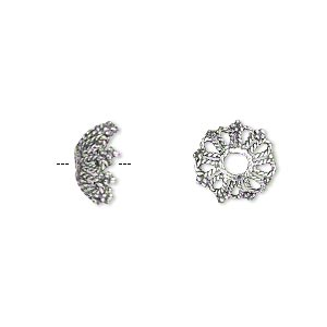 bead cap, antiqued sterling silver, 11x7mm snowflake, fits 10-12mm bead. sold individually.