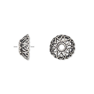 bead cap, antiqued sterling silver, 12x5mm round with beaded and swirls design, fits 10-12mm bead. sold individually.
