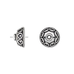 bead cap, antiqued sterling silver, 12x6mm round with circle with swirl design, fits 10-12mm bead. sold per pkg of 2.