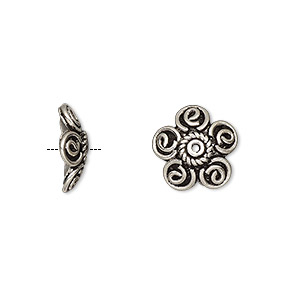 bead cap, antiqued sterling silver, 13x4mm flower, fits 12-14mm bead. sold per pkg of 5.