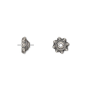bead cap, antiqued sterling silver, 7.5x4.5mm round, fits 5-6mm bead. sold per pkg of 12.