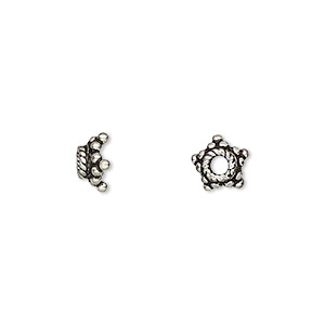 bead cap, antiqued sterling silver, 8x4mm star, fits 7-9mm bead. sold per pkg of 8.