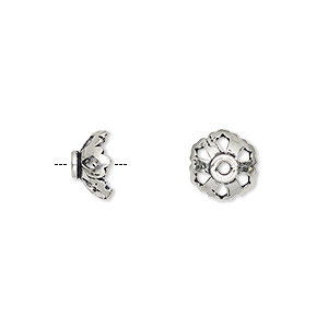bead cap, antiqued sterling silver, 9x4mm flower with cutout design, fits 8-10mm bead. sold per pkg of 6.