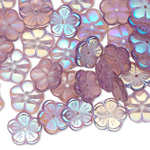 bead cap, czech pressed glass, amethyst purple ab, 10x3mm flower, fits 8-10mm bead. sold per pkg of 50.