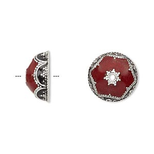 bead cap, enamel and antique silver-plated brass, opaque red and black, 14.5x6.5mm beaded round, fits 12-14mm bead. sold per pkg of 2.