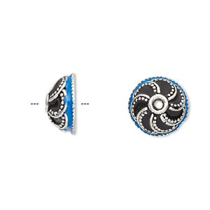 bead cap, enamel and antique silver-plated brass, opaque turquoise blue and black, 13x6mm beaded round, fits 10-12mm bead. sold per pkg of 2.