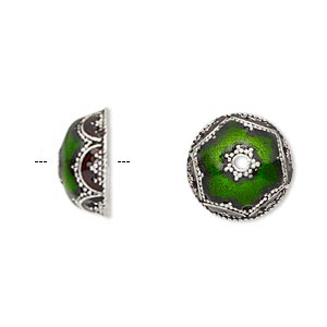 bead cap, enamel and antique silver-plated brass, transparent red and green, 14.5x6.5mm beaded round, fits 12-14mm bead. sold per pkg of 2.