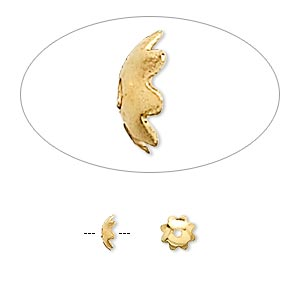 bead cap, gold-finished brass, 5x1.5mm flower, fits 6-8mm bead. sold per pkg of 100.