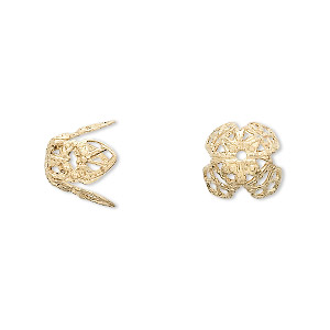 bead cap, gold-plated brass, 11x10mm long filigree, fits 12-14mm bead. sold per pkg of 100.