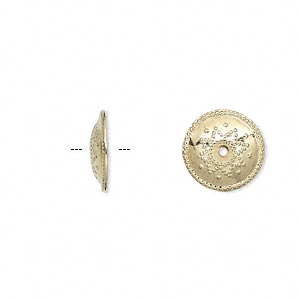 bead cap, gold-plated brass, 12x2mm shield, fits 12-14mm bead. sold per pkg of 100.
