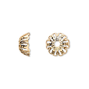 bead cap, gold-plated brass, 12x5mm filigree round, fits 12-16mm bead. sold per pkg of 10.