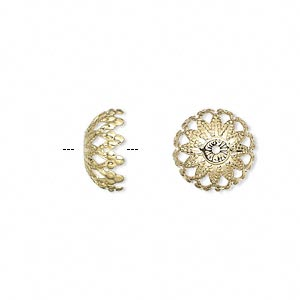 bead cap, gold-plated brass, 12x6mm filigree dome, fits 12-14mm bead. sold per pkg of 100.