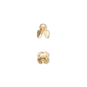 bead cap, gold-plated brass, 6x5mm 4-prong bell, fits 6-8mm bead. sold per pkg of 100.