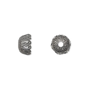bead cap, gunmetal-plated brass, 10x6mm fancy round, fits 10-12mm bead. sold per pkg of 50.