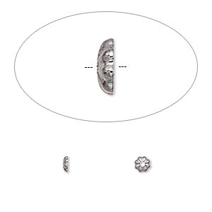 bead cap, gunmetal-plated brass, 3x1mm ribbed round, fits 2-4mm bead. sold per pkg of 500.