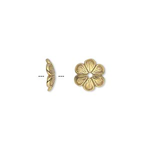 bead cap, jbb findings, gold-plated pewter (tin-based alloy), 9x2mm flower, fits 10-14mm bead. sold per pkg of 2.