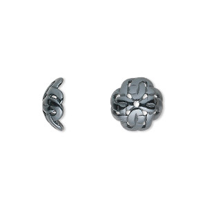 bead cap, jbb findings, gunmetal-plated pewter (tin-based alloy), 11x4.5mm celtic knot, fits 10-14mm bead. sold per pkg of 2.