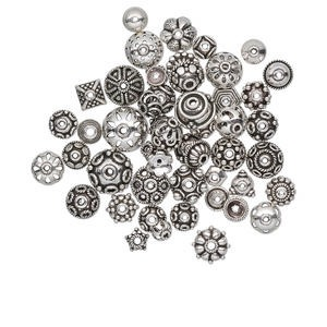 bead cap mix, antiqued sterling silver, 6x3mm-16x8mm mixed shape. sold per 50-gram pkg, approximately 50-55 bead caps.