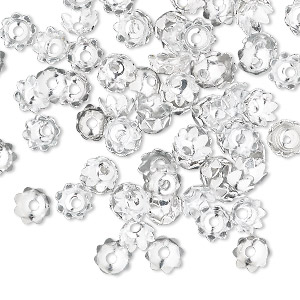 bead cap, silver-finished aluminum, 5.5x3mm flower, fits 4-6mm bead. sold per pkg of 100.