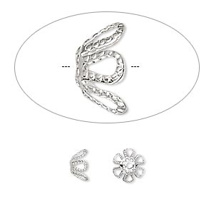 bead cap, silver-plated brass, 7x4mm flower, fits 7-9mm bead. sold per pkg of 100.