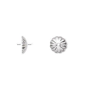 bead cap, silver-plated brass, 9x2mm ribbed round, fits 9-11mm bead. sold per pkg of 100.