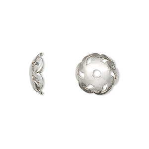bead cap, sterling silver, 12.5x4mm round with swirl, fits 11-13mm bead. sold per pkg of 2.