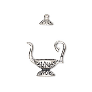 bead cap, sterling silver, 18x10mm teapot, fits 8-10mm bead. sold per 2-piece set.
