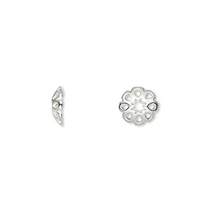 bead cap, sterling silver, 8.5mm flower, fits 8.5mm bead. sold per pkg of 6.
