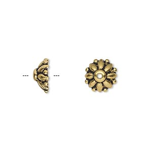 bead cap, tierracast, antique gold-plated pewter (tin-based alloy), 10x4mm round flower, fits 9-11mm bead. sold per pkg of 2.