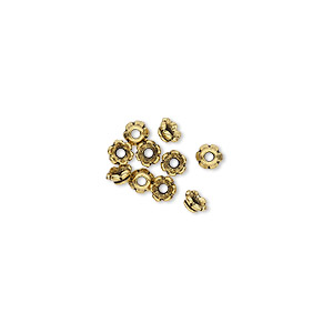 bead cap, tierracast, antique gold-plated pewter (tin-based alloy), 3.5x2mm scalloped round, fits 2-4mm bead. sold per pkg of 10.
