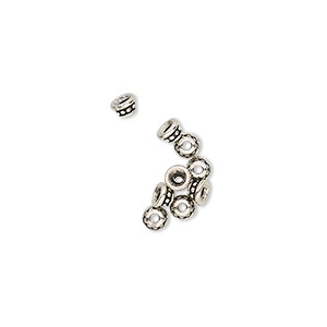 bead cap, tierracast, antique silver-plated pewter (tin-based alloy), 3.5x2mm beaded round, fits 2-4mm bead. sold per pkg of 10.