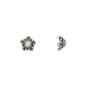 bead cap, tierracast, antique silver-plated pewter (tin-based alloy), 7.5x4mm beaded star, fits 7-9mm bead. sold per pkg of 2.