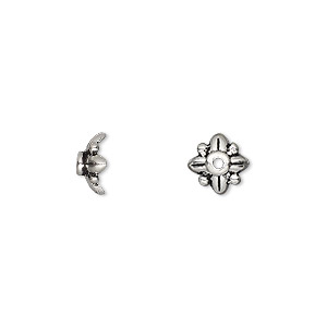 bead cap, tierracast, antique silver-plated pewter (tin-based alloy), 8x4mm beaded leaves, fits 7-10mm bead. sold per pkg of 2.