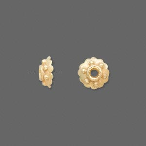 bead cap, vermeil, 9x4mm round, fits 8-10mm bead. sold per pkg of 10.