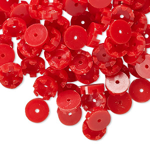 bead cap, vintage german acrylic, red, 8x2.5mm scalloped round, fits 5mm bead. sold per pkg of 100.