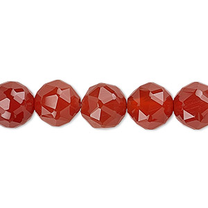 bead, carnelian (dyed / heated), 10mm rose-cut round with 0.5-1.5mm hole, b grade, mohs hardness 6-1/2 to 7. sold per 8-inch strand, approximately 20 beads.