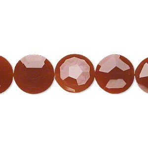 bead, carnelian (dyed / heated), 12mm hand-cut faceted flat round, b+ grade, mohs hardness 6-1/2 to 7. sold per pkg of 5.
