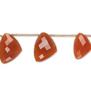 bead, carnelian (dyed / heated), 12x9x9mm-15x12x12mm graduated hand-cut top-drilled faceted irregular triangle, b+ grade, mohs hardness 6-1/2 to 7. sold per pkg of 6 beads.