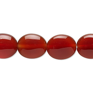 bead, carnelian (dyed / heated), 14x12mm flat oval, b grade, mohs hardness 6-1/2 to 7. sold per 16-inch strand.